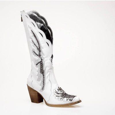 λευκή μπότα cowboy